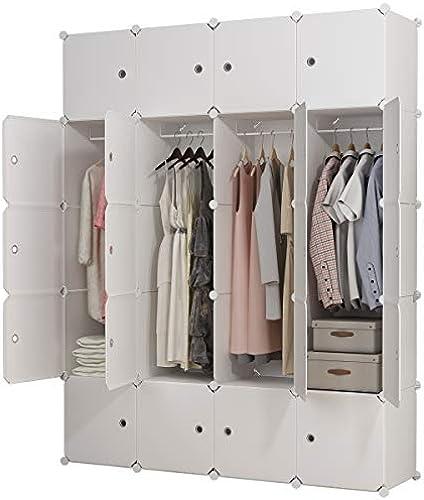 Koossy ErWeißerbares Kleiderschrank mit Aufkleber für Kinderzimmer, 148 x 47 x 185 cm, Weiß