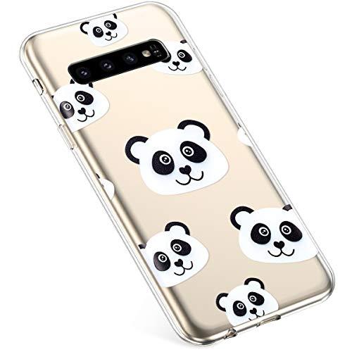 Uposao Kompatibel mit Samsung Galaxy S10 Plus Hülle Silikon Transparent Dünn Durchsichtige Schutzhülle Klar TPU Handyhülle Handytasche Clear Case Cover Stoßfest Anti-Scratch,Cool Panda
