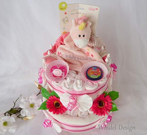 Windeltorte Geschenk Mädchen Einhorn NICI, Babyparty, Geburt oder Taufe, auf Wunsch mit Grußkärtchen