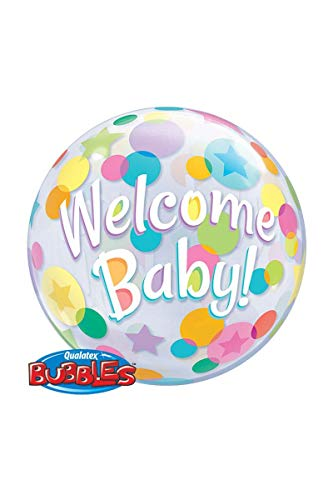 Qualatex 25860Welcome Baby Dots single Bubble Latex Ballon, 22