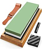 Sharpening Stone Whetstone Set Wet Stones Water Stone Knife Sharpener with Non-Slip Bamboo Base Angle Guide Flattening Stone Leather Strop for Knives,Scissors,Chisels,Hatchet, Garden Tools