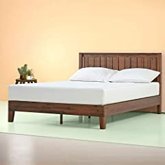Easy to assemble and no box Spring needed 37 inch high wood paneled headboard Strong wood slat mattress support for increased mattress life Foam padded tape is added to the steel frame for noise-free use and non slip tape on the wooden slats prevents...