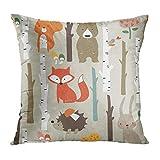 Emvency Throw Pillow Covers Forest Cute Fox Bear Bunny Elk Hedgehog Birds Mushrooms Trees Decor...