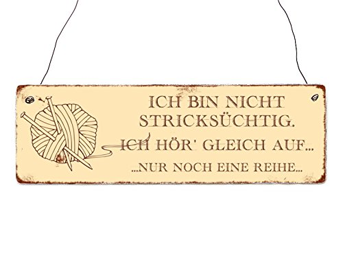 Interluxe Holzschild Shabby Chic Vintage Türschild ICH Bin Nicht STRICKSÜCHTIG Hobby