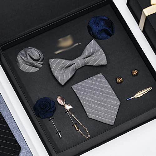 YWSZJ Hombre Corbata Conjunto Corbatas Corbatas pañuelo pañuelo piñón Corbata Corbata Clip 8 Piezas Juegos de Novio Groomsmen Ties Body Regalo (Color : A)