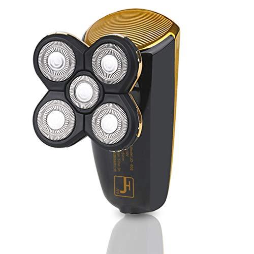 Afeitadora eléctrica para hombre, con 5 cabezales flotantes 5D, impermeable, doble uso húmedo y seco, afeitadora con cabeza caliente USB