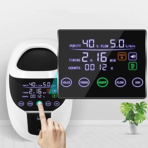S SMAUTOP Sauerstoffkonzentrator, 1-7 L/min Einstellbare tragbare Sauerstoffmaschine für den Heim- und Reisebereich(Versand im deutschen Lager, nur 1-2 Tage zu liefern)