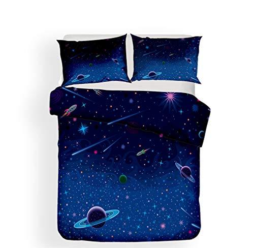 WENYA Impresión 3D Espacio Universo Galaxia Planeta Cohete Astronomía Juego de Cama Niño Niña Funda Nórdica y Funda de Almohada Microfibra (Estilo 5, 180x220 cm - Cama 105 cm)