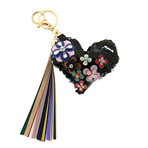 Sweet Deluxe Schlüsselanhänger Flowerheart, schwarz/Mix I Cooler Schlüsselhalter für Damen & Mädchen I Geschenk-Idee für Frauen & BFF Freundin I individueller Schlüsselring