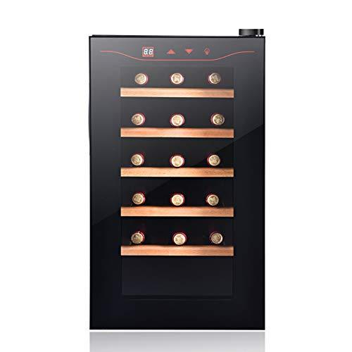 BLLXMX Freistehender Weinkühlschrank, Tisch-Weinkühlschrank Schwarz, 11-18 ° C Weinkühler LED, Glastür Getränke Keller Einzonentemperatur