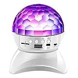 YWCH Altavoz Bluetooth LED, Altavoz de la luz de la luz de la Discoteca, la iluminación de la Etapa de la atmósfera Colorida, la Bola mágica de Cristal giratoria y Intermitente de 360 Grados,Blanco