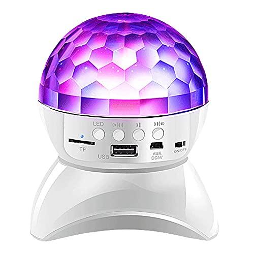 XAENG Bluetooth-Lautsprecher, Tragbare Bluetooth-Lautsprecher, 360 ° Rotierende Bunte Bühnenbeleuchtung Und Optionales Design Von Mehreren Kanalmodi, Hochgeschwindigkeits-Bluetooth-Chip,Weiß