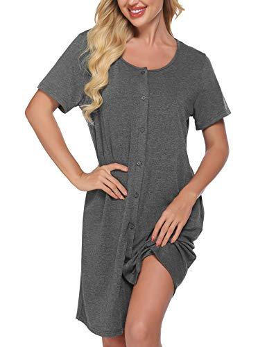 Meaneor Damen Nachthemd Kurzarm Geburt Nachtwäsche Stillyjama Geburtshemd Sommer Schlafanzug für Schwangere Nachthemd zum Knöpfen Geburt mit Taschen Grau S