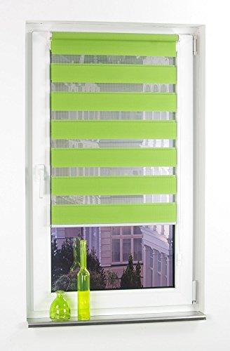 Liedeco® DUO Rollo Klemmfix - 80 x 200 cm apple green (grün) (Breite x Höhe) / transparent lichtdurchlässig blickdicht und stufenlos verstellbar / leichte Innen-Montage ohne Bohren mit Klemmträger / 123 montiert / Doppelrollo farbig zum Klemmen fürs Fenster in vielen Farben und Größen