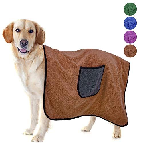 Dociote Hundehandtuch Große Hunde, Hundehandtuch Extra Saugfähig Hundebademantel Weich Handtuch Doppel Microfiber Schnelltrocknend Haustierhandtuch für Hunde Katzen 70 * 100cm Kaffee