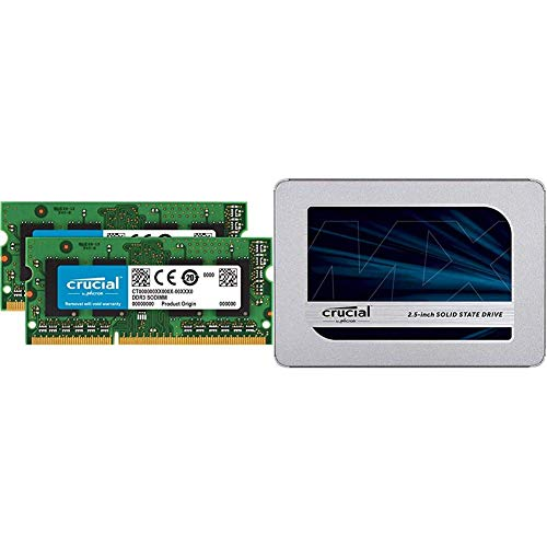 Crucial CT2KIT51264BF160B 8GB (4GBx2) Speicher Kit (DDR3L, 1600 MT/s, PC3L-12800, SODIMM, 204-Pin) + 500GB (3D NAND, SATA, 2,5 Zoll, Internes SSD)