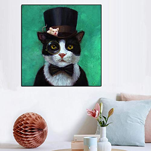 mmzki Cartoon Tier Leinwand Malerei Eine Katze und Eine Maus Mit Brille Bild Poster Für Kinder