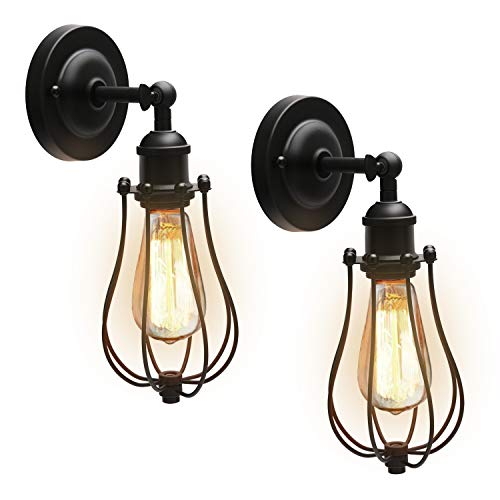 Upgrade Wire Cage Wall Sconces with LED Bulbs JACKYLED UL-Listed Industrial Vintage Style Black Metal Wall Light Fixture for Bedroom Headboard Porch Farmhouse (2-Pack)