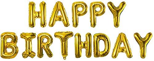 Mylar - Globos dorados con forma de letras que componen la inscripción Happy Birthday. Color: dorado metalizado