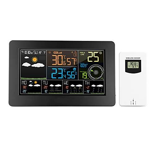 KKmoon FJW4 Weerstation met wifi, multifunctioneel, kleurendisplay, app-monitor, meteo, voor buitentemperatuur, snelheid Vento, digitale wekker met buitensensor
