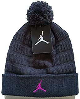 NIKE Air Jordan Unisex Jumpman Knit Winter Cuffed Pom Beanie Ski Cap Hat, Anthracite Wolf Grey/Pink, 8/20