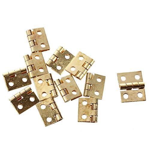 GRASARY 1 juego de bisagras ligeras con cuatro orificios de fijación de metal 1:12 en miniatura para puerta de casa de muñecas, perfecto para bricolaje casita de muñecas, juego de regalo