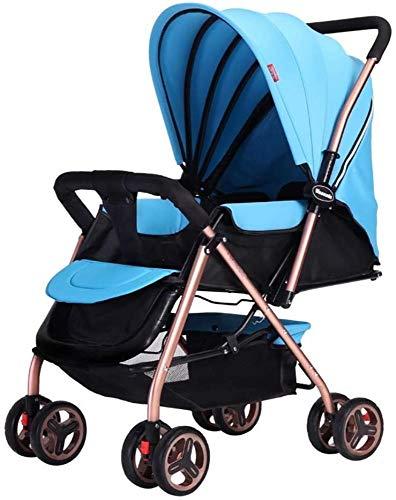 Poppenwagen kinderwagen lichtgewicht, draagbaar hoog landschap kan zitten en liggen, opvouwbare eenvoudige handgreep, omkeerbare ophanging neonatal buggy babytrolley babyartikelen blauw