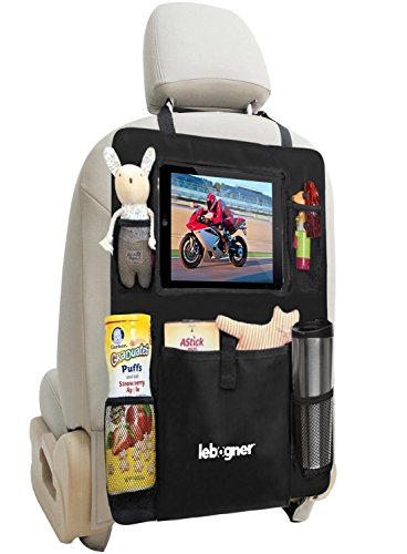 lebogner Car Seat Protector + Backseat Organizer, Durable Quality Seat Covers, 7 Pocket Storage Car Seat Back Organizer & Kick Mat Protector, X-Large Kids Toys and Travel Accessories Organizer