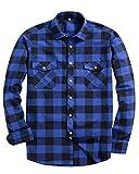 Alimens & Gentle Men's Button Down Regular Fit Long Sleeve Plaid Flannel Casual Shirts Color: Blue, Size: Medium