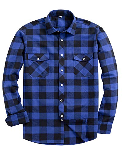 Alimens & Gentle Men's Button Down Regular Fit Long Sleeve Plaid Flannel Casual Shirts Color: Blue, Size: Large