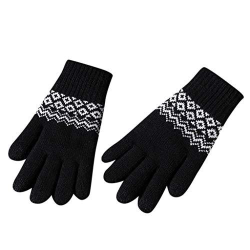 HSKB Manoplas de invierno calientes guantes de invierno pantalla táctil función seleccionable resistente al viento antideslizante transpirable guantes de esquí guantes térmicos para hombre, Negro
