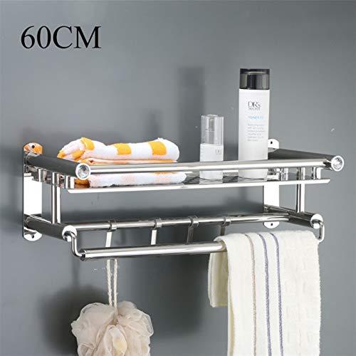 NZHK Accesorios de baño Conjunto Conjunto de Acero Inoxidable Robe Ganchos Tenedor de Papel 3 Capa Toalla Soporte de jabón Plato de Placa de Inodoro montado en la Pared (Color : 1 Layer 60cm)