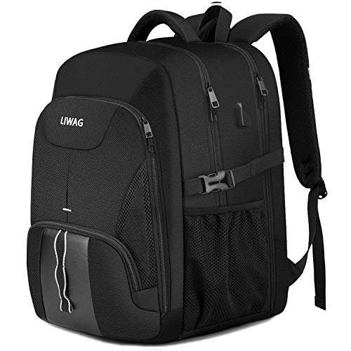 Extra Large Backpack for Men 50L,Durable Travel Laptop Backpack Gifts for Women Men with USB Charging Port,TSA Friendly Big Business Computer Bag College School Bookbags Fit 17 Inch Laptops,Black