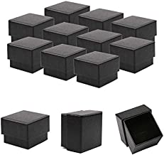 Sdootjewelry Kraft Earring Ring Boxes, 50 Pack Square Cardboard Jewelry Gift Boxes Small Earring Ring Gift Box with Foam Insert - 1.97 x 1.97 x 1.57 Inches - Black