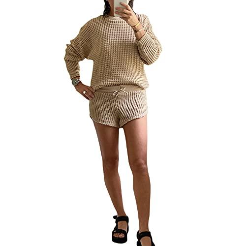 Sexy Due Pezzi Abiti per le Donne Tinta unita Manica Lunga Girocollo Maglia Maglione Crop Pullover Streetwear, Albicocca, M