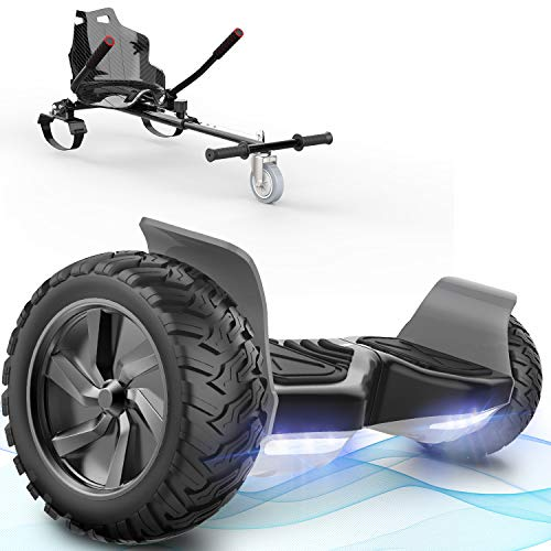 FUNDOT Hoverboards mit Sitz, All-Terrain-Hoverboards mit Hoverkart,8,5 Zoll Go-Kart mit Self Balancing Scooter, Offroad-Hoverboards mit Bluetooth-Lautsprecher, LED,Geschenk für Kinder Erwachsene