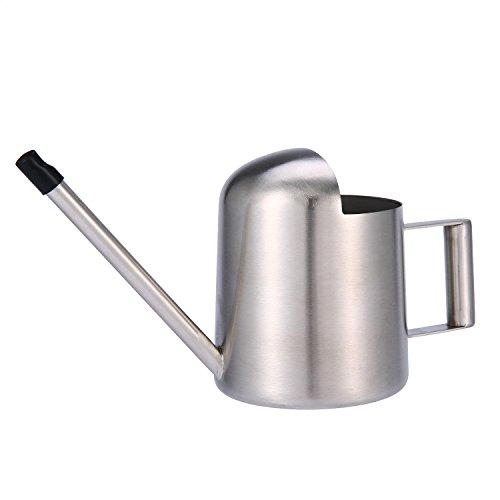 Aolvo mini arrosoir d'intérieur de style moderne en acier inoxydable, 300 ml, à long col, à utiliser à domicile ou pour plantes de bureau, argent