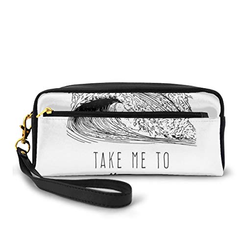 Pencil Case Pen Bag Pouch Stationary,Take Me To The Ocean 1986 Lettering Minimalist Illustration Of Surf Waves,Small Makeup Bag Coin Purse