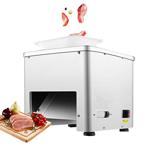 NEWTRY Commercial Meat Cutter Machine for Restaurant 3.5mm Blade Automatic Slice Strip Cube Meat Cutting Machine 350lb h Stainless Steel 110V US Plug