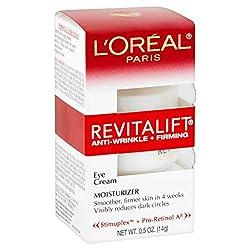 Eye Cream with Pro Retinol, L'Oreal Paris Skincare Revitalift Anti-Wrinkle and Firming Eye Cream Treatment to Reduce Dark Circles, Fragrance Free, 0.5 oz.