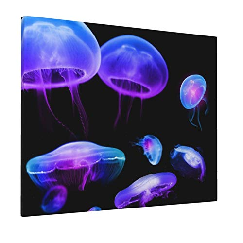 Canvas Painting Wall Art Decoration Poster Dreamy Purple Fluorescent Jellyfish Modern Artwork Print on Canvas Home Art Pictures HD Printed with Framed Ready to Hang