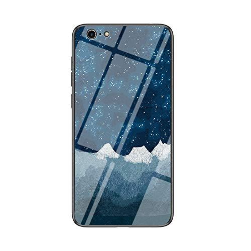 SHIEID Carcasa para Apple iPhone 6 Plus,Mármol Vidrio Templado de Case Cover Ultra Fina Silicona Gel Caja Carcasa Antideslizante de Carcasa Blanda para Apple iPhone 6 Plus (Tela de ajedrez Star Luo)