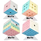 Moyu OJIN MoFang JiaoShi Meilong Bright Pink Series Cube Meilong Cube Stickerless Bundle 2x2 3x3 4x4 5x5 Cube Forsted Surface Puzzles Cube Set con Quattro cubo treppiedi