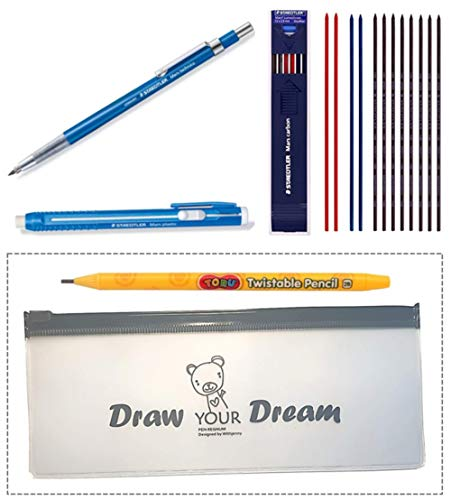 Staedtler Mechanical Technical Pens Pencil - Writing Supplies Set Technico Mars Lead Holder(780C), Stick Eraser(52850) & Lead 2mm HB 1 Dozen Mix Color (8 black + 2 red + 2 blue) & Additional