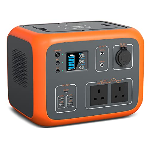 POWEROAK Portable Power Station 500Wh AC50S Solar Generator Portable Camping Power Pack with Wireless Charging LED Flashlights for Camping,Adventure,Fishing and Party