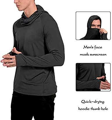Litthing Mens Face Mask Sunscreen Quick-Drying Hoodie Thumb Hole Outdoor Long Sleeve Fitness Fishing Suit