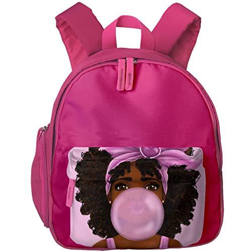 XCNGG Mochila para niños Mochila para niños Bolsos para niños Kids Backpack 3D Afro Girl Blowing Bubble Kindergarten Preschool Pocket Bags Rucksack Casual Daypack For Children Toddler Girls Boys Pink