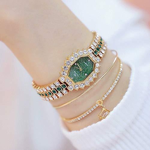 para Relojes SSL FA1581 Mujeres DIAL Octogonal Pulsado de Diamantes de Diamante de Diamante Reloj de Cuarzo (Silver Shell Blue Diamond) (Color : Gold Shell Green Diamond)