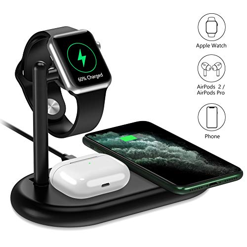 yootech 3 in 1 Kabelloses Ladegerät, Wireless Charger für iPhone SE 2020/11/Pro Max/XS/X/8 usw, Qi Induktion Ladestation NUR für AirPods Pro, Apple Watch5/4/3/2/1 (kein iWatch Ladekabel und Netzteil)