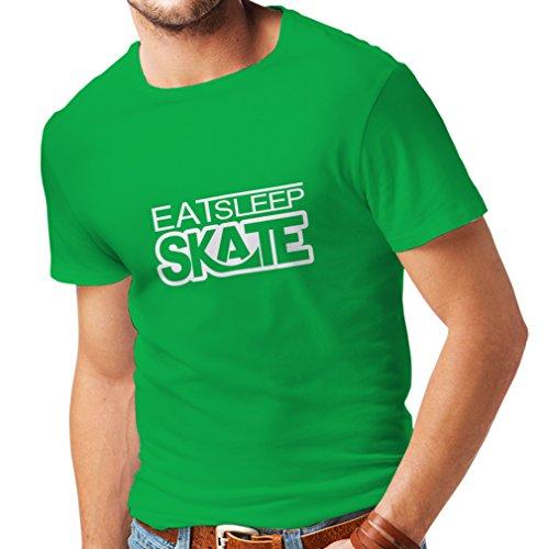 lepni.me Camisetas Hombre Coma - sueño - patín - para los Patinadores, skateboardboard, Skateboard Gifts (XXX-Large Verde Blanco)